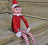 3 x elfe de Noël peluche Smiley Face se trouve sur étagère...