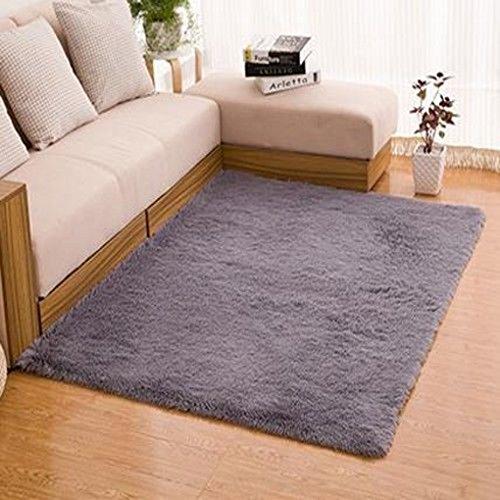 Gemini_mall®, morbido tappeto a pelo lungo, a tinta unita, per soggiorno e camera da letto, polipropilene, grey, 80x120cm (2ft7