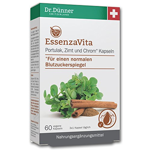 Dr.Dünner, für einen normalen Blutzuckerspiegel (60 vegane Kapseln), EssenzaVita, Portulak, Zimt und Chrom, unterstützt die Normalisierung des Blutzuckerspiegels, Studiengeprüfter Pflanzenextrakt, bewährte 3-Komponenten-Rezeptur, Portulak: die Wiederentdeckung aus dem Klostergarten