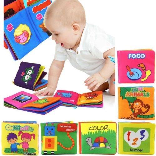 Yosoo Soft Tuch Baby Buch Spielbuch Puzzlebuch Geeignet für 3 Monate bis 3 Jahre alte Kinder, ca.10 x 9cm (Set of 6) - Englische Version