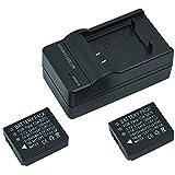 Mondpalast ® 2X 1200mAh 3.7V Remplacement Batterie CGA-S007 CGA-S007A CGA-S007A/1B CGA-S007E DMW-BCD10 + chargeur pour Panasonic Lumix TZ1 TZ2 TZ3 TZ4 TZ5 DMC-TZ1 DMC-TZ2 DMC-TZ3 DMC-TZ4 DMC-TZ5