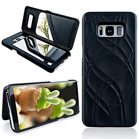 Dexnor Samsung Galaxy S8 Mirror Wallet Case Cover, Luxury Book Style Elegant Built-in Mirror with Card Holder Protective PC Hard Shell PU Leather Case Sleeve Flip Holster Smart Case for Samsung Galaxy S8 –