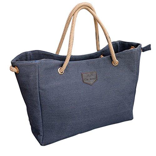 TOOGOO(R) Nuovo Canvas Handbag personalita contratta Grande borsa singolo o doppio sacchetto di corda spalla per la donna BJF081 - Nero blu