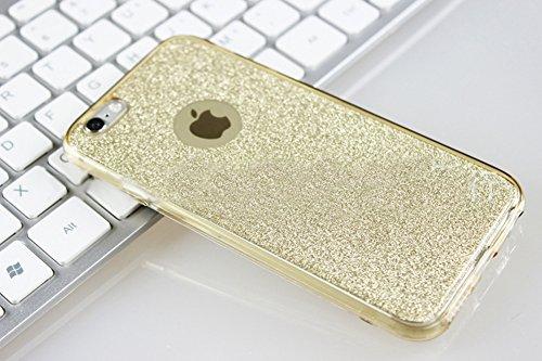 Coque iPhone 7, Étui iPhone 7, iPhone 7 Case, ikasus® Coque iPhone 7 Étui de protection complet avant + arrière 360 degrés Étui en silicone souple Bling Pétillant Brillant Briller Housse Téléphone Cou Or