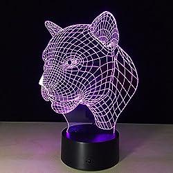 Queenshiny® LED 3D Ilusión lámpara luz escritorio micro USB lámpara noche 7 cambio de color (Leopardo)