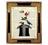 Zauberer Zylinderhut Vögel Magie Poster Kunstdruck auf antiker Buchseite Zauberhut Geschenk Bild ungerahmt