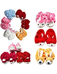 CEE 18 Baby Girls & Boys Soft Velvet Cartoon Face Socks Cum Shoes/Thick Base Booties