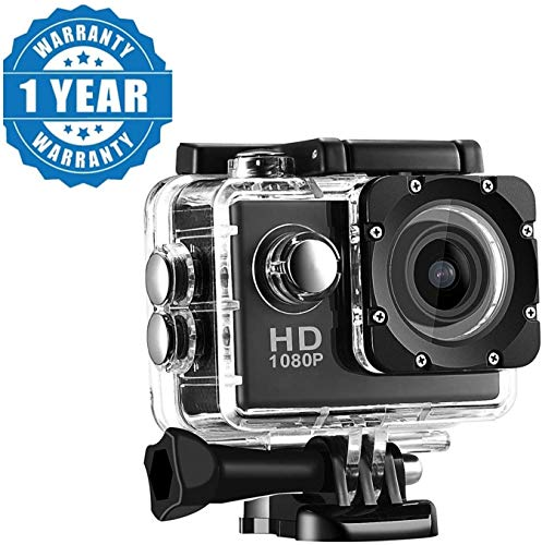 Drumstone Full HD Action Camera with 170° Ultra Wide-Angle Lens & Full Accessories