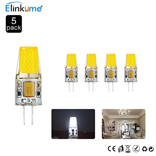 ELINKUME 5er Pack 4W G4 COB LED Lampen Ersetzt 25W Halogenlampen G4 LED Birnen 310LM Kaltweiß AC/DC 12V LED Leuchtmittel 6500K (12v Veranda)