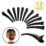 PAMIYO 12 Stück Damen Haarspange, Plastik Haar Klammer Spange, krokodil Haarclips, Friseur Abteilklammern, Combi-Clip Karte aus Kunststoff Schwarz (12cm-Matte Oberfläche)