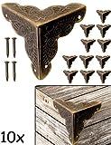 FUXXER® - 10x Antik Möbel Ecken | Beschläge für Kisten Boxen Möbel Regal Tisch | Vintage Messing Antik Optik | inkl.40 passende Nägel