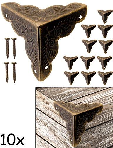 FUXXER - 10x Antik Möbel Ecken | Beschläge für Kisten Boxen Möbel Regal Tisch | Vintage Messing...