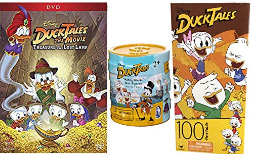 Money Ducks Adventure Disney DuckTales Lost Treasure Lamp DVD + Collectible Figure Coin Stack pack cartoon family Jigsaw Puzzle Woo-oo fun! Scrooge, Webby, Huey, Dewey, and Louie -