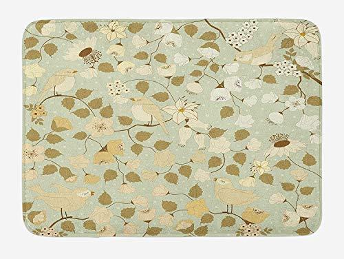 JIEKEIO Floral Bath Mat, Vintage Retro Swirls Ivy Flowers Birds Symbol of Romantic Era, Plush Bathroom Decor Mat with Non Slip Backing, 23.6 W X 15.7 W Inches, Pistachio Green Khaki and White -