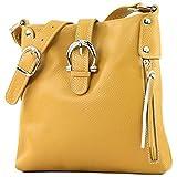 modamoda de - ital Umhänge- hombro/bolsa de cuero T04, Color:amarillo mostaza