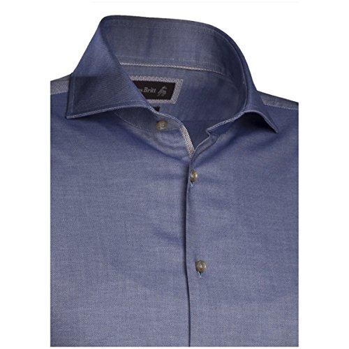 ... JACQUES BRITT Herren Hemd Custom Fit Brown Label 1/1-Arm Bügelleicht Uni  /