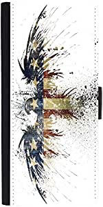 Snoogg Eagle With American Flag Graphic Snap On Hard Back Leather + Pc Flip C...