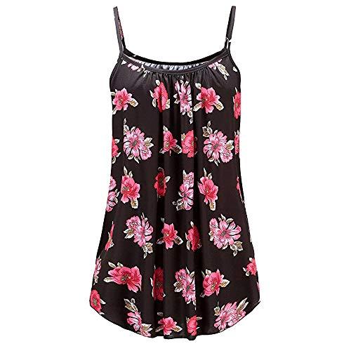 Andouy Damen - Camis Top Print - Ärmellose Weste Tank Plus Size Gr.36-52 Übergroße Laides Daily Beach Straps-Bluse(4XL(48),Schwarze Blume) -