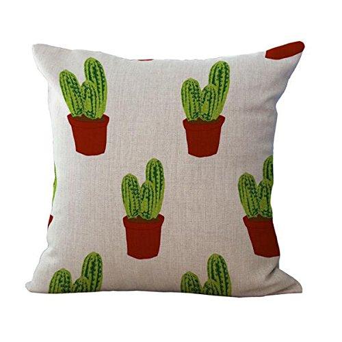 Funda de Cojín Almohada Lino Caso Algodón Impresión de Cactus Tropical Decoración Coche Casa - 1#