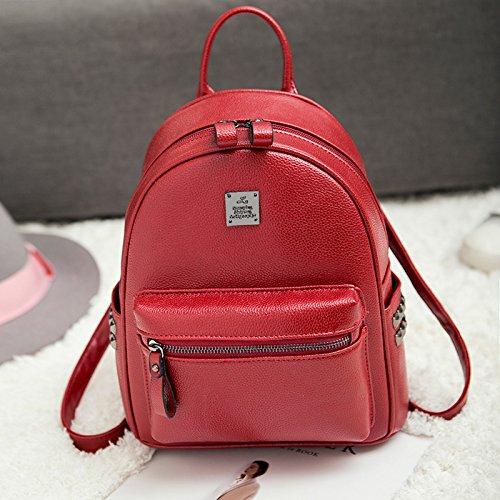 CengBao Double-borse tracolla femmina pu coreano moda singoli wild tempo libero Mini Bundle Ms. nuove ondate di zaino nero Vino rosso