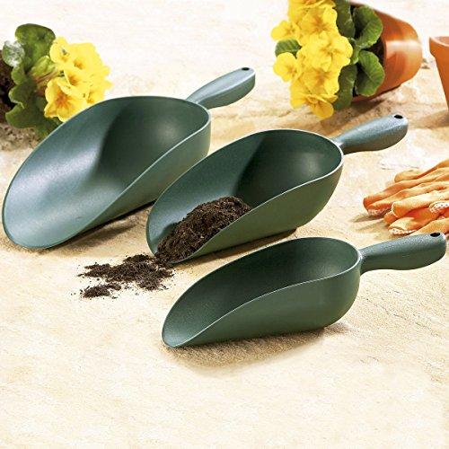 Tri Pack-3 Stück (TRI Schaufel-Trio, 3 Stück, Gartenschaufel 3er Pack Blumenkelle robust Kunststoff kleine Schaufel umpflanzen Gartenzubehör Gartengerät)