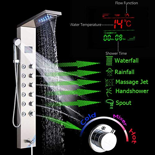 LWSFZAS Temperatur Digaital Bildschirm Duschsäule Turm Edelstahl Led Duschpaneel System Regen Wasserfall Duschkopf Spa Massage JetNickelgebürstet (Regen Duschkopf Nickel Gebürstet)