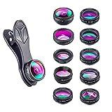 Apexel 10 in 1 Phone Kamera Objektiv Set Weitwinkelobjektiv + Makro Objektiv + Fisheye Objektiv + Teleobjektiv + Kaleidoskop 3/6 Objektiv + CPL/Flow / Star/Radial Filter Clip-on Meiste Smartphone