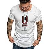 MOTOCO Herren T-Shirt Kurzarm Top/Sumer Lässige Kleidung O-Ausschnitt BACKSP Letter Print/Cotton Broadcloth Shirt Tees(XL,Weiß-2)