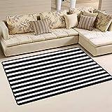 Bennigiry Home Dekorativer Teppich, Streifen, schwarz-weiß, Linien, 78,7 x 50,8 cm, Polyester, Teppich-Teppich, Rutschfeste Fußmatte für Wohnzimmer Schlafzimmer, Polyester, Multi, 60 x 39 inch