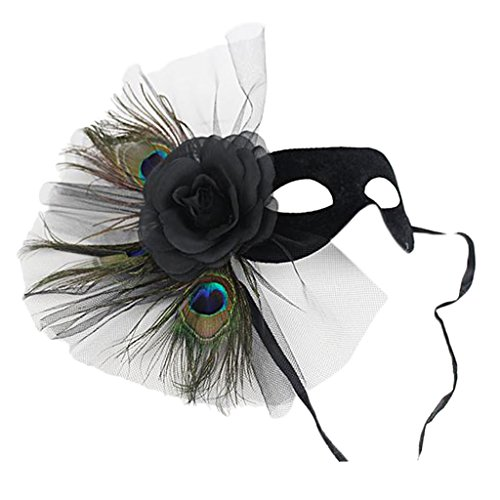 MagiDeal Feder Venezianischen Maskerade Kostümball Schwarze Blumen ()