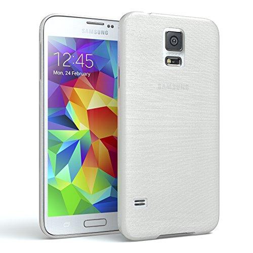 EAZY CASE Hülle für Samsung Galaxy S5/LTE+/Duos/Neo Schutzhülle Silikon, gebürstet, Slimcover in Edelstahl Optik, Handyhülle, TPU Hülle/Soft Case, Backcover, Silikonhülle Brushed, Weiß