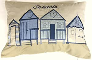 SEASIDE BEACH HUTS EMBROIDERED 35 X 50CM BLUE CUSHION COVER