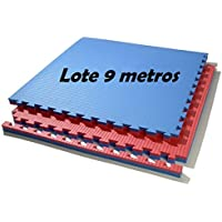Lote 9 m. Cuadrados de suelo tatami, colores (rojo/azul) de 2 cmts.
