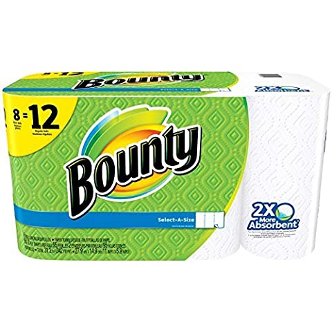 Bounty Select-A-Size Paper Towels, White, Giant Roll - 8 pk by Bounty