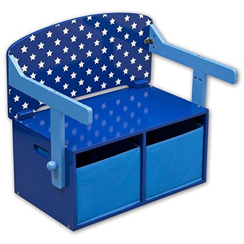 Kinderstuhl - Kindertisch - Kinderbank 3in1 mit Farbauswahl (Sterne blau)