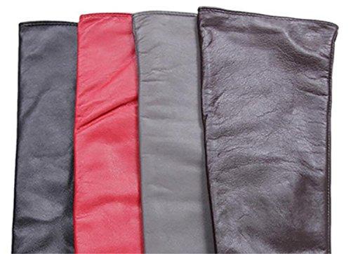 GQQgloves Mesdames longue Section dîner cuir basane gants chauds rouge brun noir gris gray