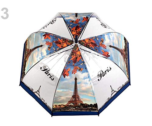 1stück 3 Pariser Blau Regenschirm Durchsichtig Paris, Transparente Regenschirme, Und Regenjacken, Modisches Zubehör
