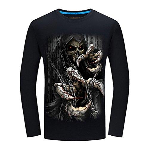 NiSeng Hombre 3D Patrón Animal Impresión Camisetas Personalidad Cabeza De Lobo Impresión Manga Larga T-Shirt Camiseta GZNegro 2XL