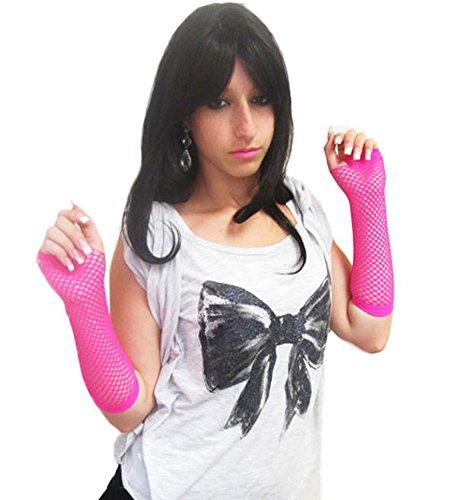 Hot Rosa Lange Fischnetz Handschuhe Erwachsene - Pop-Diva der 1980er Jahre lange Netz-Handschuhe in (Rosa Handschuhe Nylon Lange)