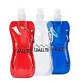 Praktische faltbare Wasserflasche (3er Set) - 480ml Volumen - Auslaufsicher - Flexibel und Wiederverwendbar - mit Karabiner - BPA-Frei - Ideal zum Wandern, Fahrradfahren, Yoga und Kraftsport