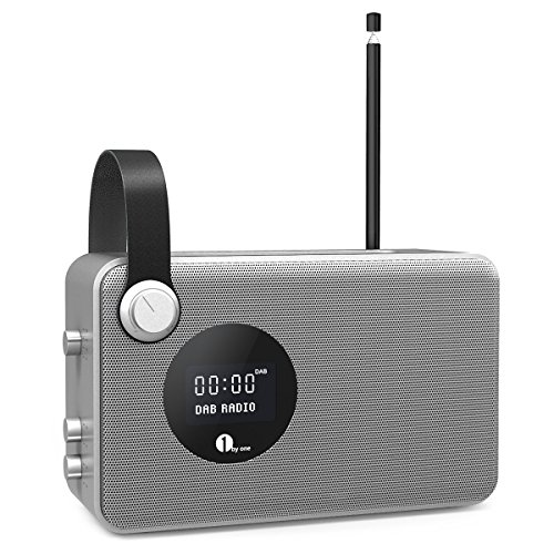 1 BY ONE Radio Digitale DAB / FM Bluetooth Radio con Sveglia/ FM / Schermo LCD / 3.5 mm Aux-in, Argento e Grigio [ Classe Energetica A+++ ]