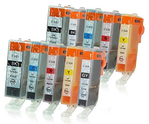 10 Cartucce Per Stampanti con Chip e Indicatore di Livello compatibile con Canon PGI-525 / (Colori A Getto D'inchiostro Di Ricambio)