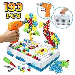 3D Puzzle Mosaik Steckspiel Schraube Spielzeug - Pädagogisches Spielzeuge mit Elektronischem Bohrer Baustein Spielzeug Geschenkidee für Kinder Junge Mädchen ab 3 4 5 Jahre Alt