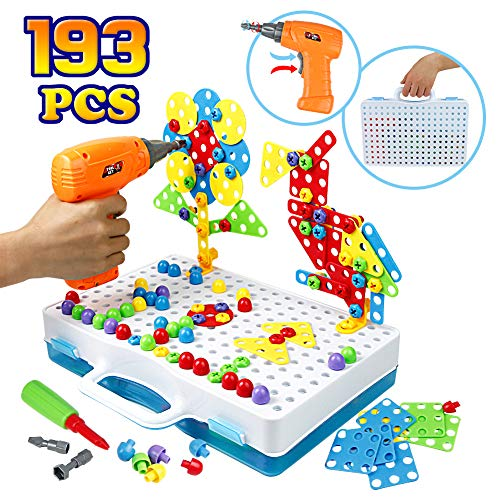 Stem Construction Toys 3D Puzzle Screw Toy with Electronic Drill DIY Building Block Kids Early Learning Creative Montessori Toys for Toddlers 3 4 5 Years, 193PCS