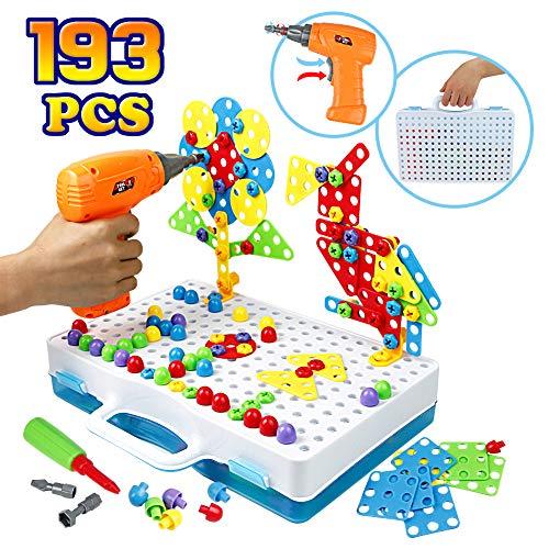 Symiu Giocattolo Chiodini 3D Puzzle da Costruzione STEM Giochi con Trapano Elettrico Mosaico Bambini Giochi Creativi Regalo per Bambino 3 4 Anni