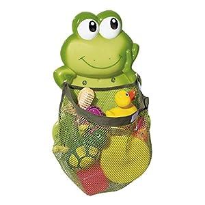 babywalz Aufräumnetz Frosch -Aufbewahrungs-Netz für Badespielzeug -größenverstellbar durch Klettverschluss – extra starke Saugnäpfe – grün