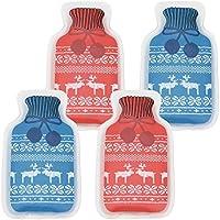 com-four® 4X Taschenwärmer in Verschiedenen Farben im aufgedrucktem Strick Design [Farbe variiert!]- ideal für kalte Tage (04 Stück - Wärmflasche Strick)
