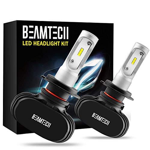 BEAMTECH H7 LED Faro Lampade,Auto Alogene HID Xenon Sostituzione Lampadine Abbaglianti o Anabbaglianti CSP Kit 50W 6500K 8000LM Bianco(Pack of 2)