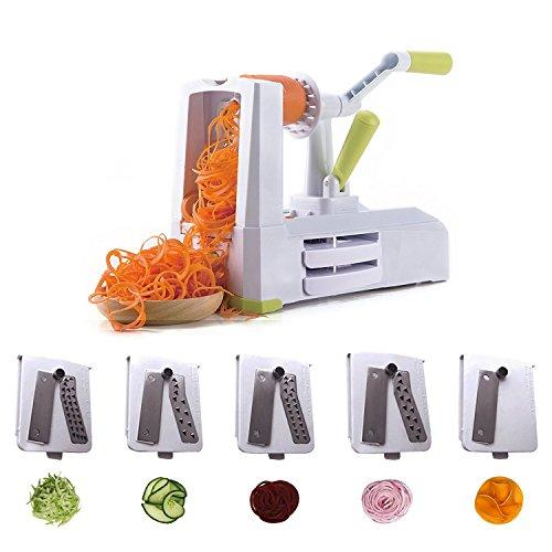 CO-Z Spiralschneider Gemüseschneider Gurkenschneider Vegetable Slicer Gemüsespaghetti Kartoffel Zucchini Obst mit 5 Klingen Zucchini-spaghetti-maker Mandoline