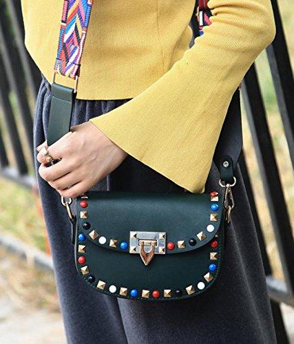Frauen PU-Leder Intarsien Edelsteine Farb Rivet Einzelne Schulter-Umhängetasche Tasche Green